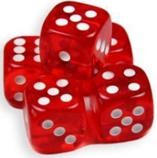 Изображение Прозрачный кубик d6 для покера (красный)